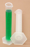Graduated Cylinder Plastic PP 100 ml Hex Base