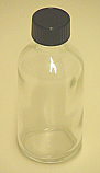 Clear Flint Glass Boston Round Bottle with Lid 1 oz