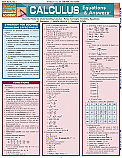 Calculus Equations & Answers Chart